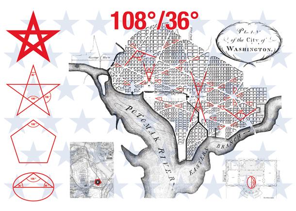 D'après  Pierre Charles L'Enfant Washington 108°/36°